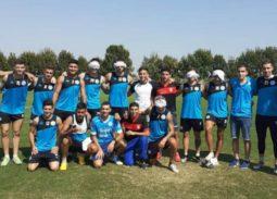 Planteles de Belgrano y los Guerreros juntos tras el entrenamiento